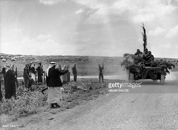 First arabisraeli war 19481949 Arab military blocking the road JerusalemTel Aviv near Bab el Wad end of may 1948