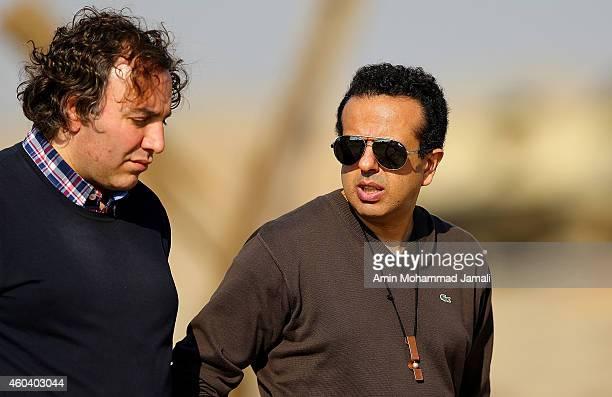 First Assistant Director Alireza Shams Sharifi Êand Director and Film producer Saman Moghadam looks on during 'Sperm Whale' Movie on December 13 2014...