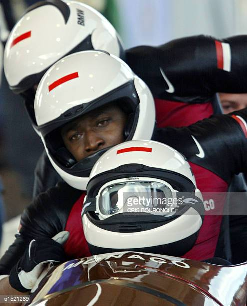 first athlete to participate in more than four Olympic in bobsleigh pilot Monaco's prince Albert Grimaldi and his teammates Charles Oula Sebastien...