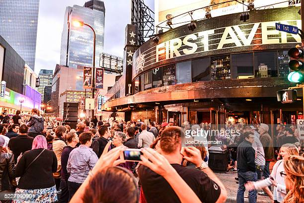 first avenue gathering in minneapolis celebrating the life of prince - minneapolis stock pictures, royalty-free photos & images