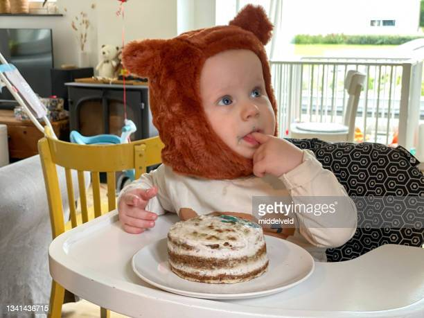 first baby boy birthday - bear suit stock pictures, royalty-free photos & images