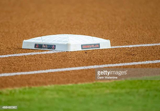 First base bag with the Arizona Diamondbacks logo before a MLB game against the Los Angeles Dodgers on September 13 2015 at Chase Field in Phoenix...