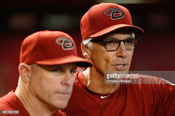 First base coach Dave McKay of the Arizona Diamondbacks during the MLB game against the San Francisco Giants at Chase Field on July 19 2015 in...