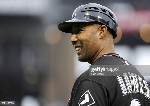 First base coach Harold Baines of the Chicago White Sox looks on against the Seattle Mariners on Sunday April 25 at US Cellular Field in Chicago...