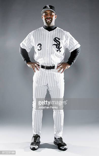 First Base Coach Harold Baines poses for a portrait during the Chicago White Sox Photo Day on February 26 2006 at Tuscon Electric Park in Tucson...