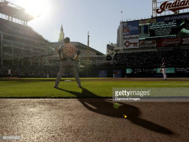 First base coach Mick Kelleher of the New York Yankees stands at first base during a game against the Cleveland Indians on July 8 2014 at Progressive...