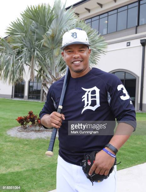 First base coach Ramon Santiago of the Detroit Tigers poses for a photo during Spring Training workouts at the TigerTown Facility on February 14 2018...