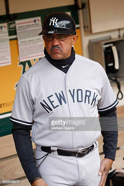 0357670b8b9 First base Coach Tony Pena of the New York Yankees stands in the dugout  prior to