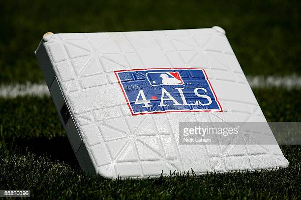First base dedicated to the disease Amyotrophic Lateral Sclerosis often referred to as 'Lou Gehrig's Disease' is seen prior to the game between the...