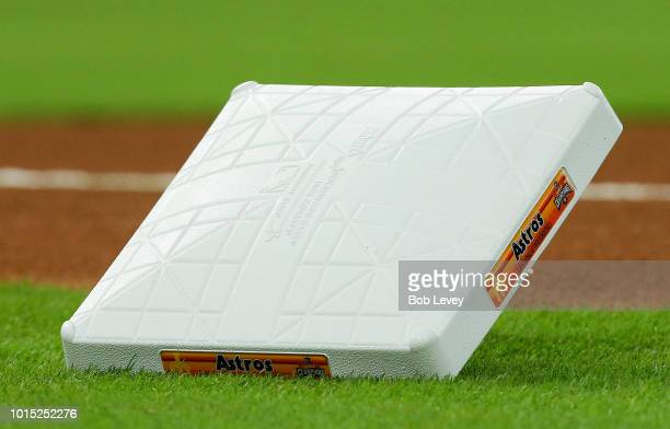 First base depicting the Houston Astros throwback logo at Minute Maid Park on August 11 2018 in Houston Texas