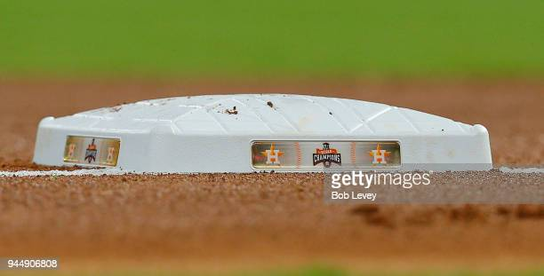 First base displaying the Houston Astros 2017 World Series logo at Minute Maid Park on April 3 2018 in Houston Texas