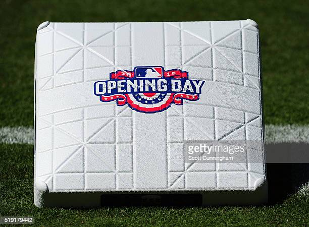 First base is adorned with an Opening Day logo for the game between the Atlanta Braves and the Washington Nationals at Turner Field on April 4 2016...