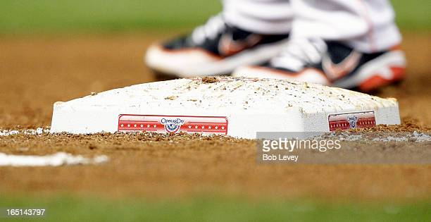 First base showing opening day logo on Opening Day at Minute Maid Park on March 31 2013 in Houston Texas