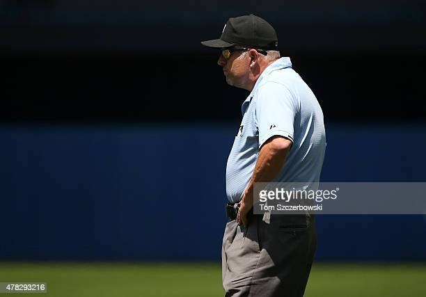 First base umpire Dale Scott looks on during the Baltimore Orioles MLB game against the Toronto Blue Jays on June 20 2015 at Rogers Centre in Toronto...