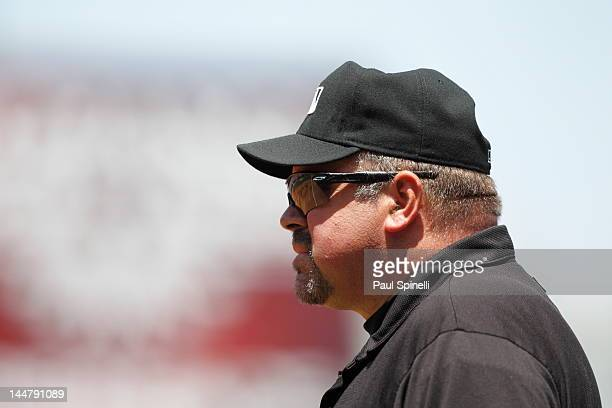 First base umpire Wally Bell looks on during the Los Angeles Angels of Anaheim game against the Toronto Blue Jays on Sunday May 6 2012 at Angel...