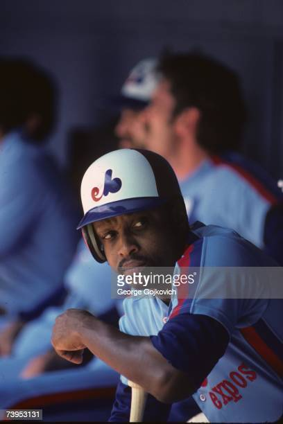 First baseman Al Oliver of the Montreal Expos in the dugout during a game against the Pittsburgh Pirates at Three Rivers Stadium in August 1983 in...