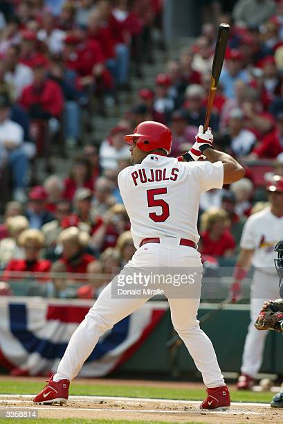 First baseman Albert Pujols of the St Louis Cardinals at bat during the game against the Milwaukee Brewers on Opening Day at Busch Stadium on April 5...