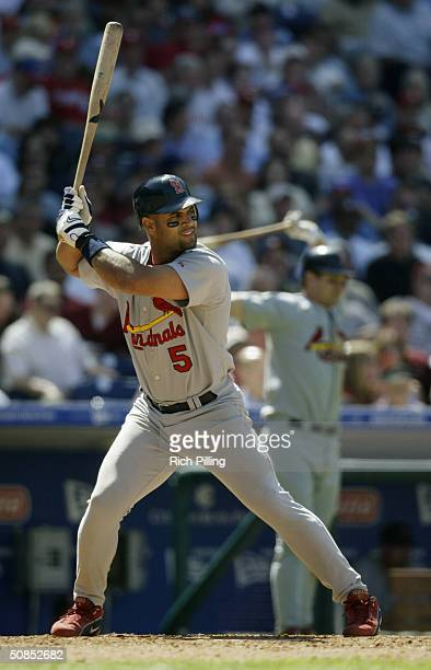 First baseman Albert Pujols of the St Louis Cardinals at bat during the game against the Philadelphia Phillies at Citizens Bank Park on May 6 2004 in...