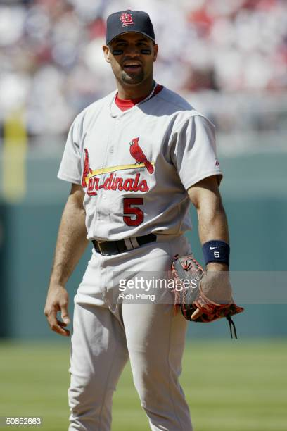 First baseman Albert Pujols of the St Louis Cardinals in the field during the game against the Philadelphia Phillies at Citizens Bank Park on May 6...