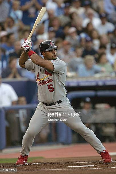First baseman Albert Pujols of the St Louis Cardinals stands ready at the plate during the National League Division Series with the Los Angeles...