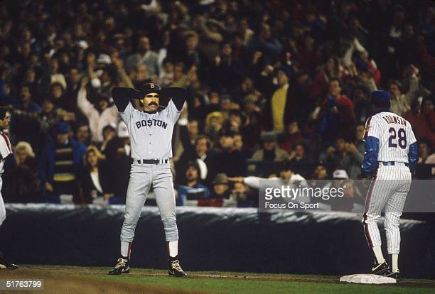 First baseman Bill Buckner of the Boston Red Sox shows his frustration after a close call at first base went against the Red Sox during the World...