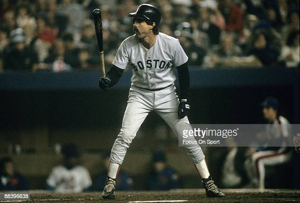First baseman Bill Buckner of the Boston Red Sox stands at the plate preparing to hit in a World Series gams against the New York Mets October 1986...