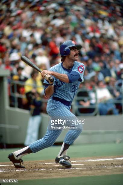 First baseman Bill Buckner of the Chicago Cubs bats against the Pittsburgh Pirates at Three Rivers Stadium in July 1979 in Pittsburgh Pennsylvania