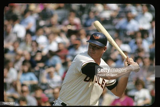 First baseman Boog Powell of the Baltimore Orioles at the plate ready to hit during a circa mid 1960s Major League Baseball game at Memorial Stadium...