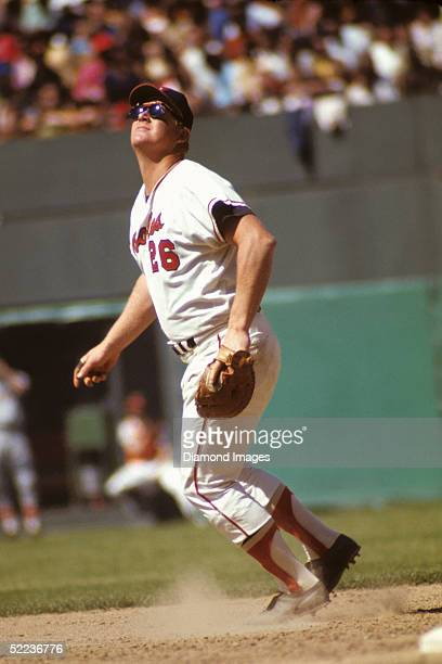 First baseman Boog Powell of the Baltimore Orioles lines himself up under a pop fly during a May 1971 game at Memorial Stadium in Baltimore, Maryland.