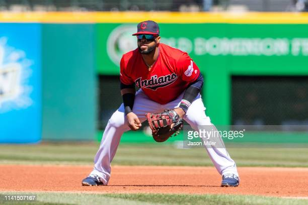 First baseman Carlos Santana of the Cleveland Indians in his ready stance during the first inning against the Chicago White Sox at Progressive Field...