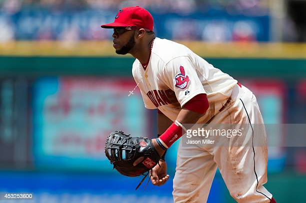 First baseman Carlos Santana of the Cleveland Indians plays first base during the fourth inning against the Chicago White Sox at Progressive Field on...