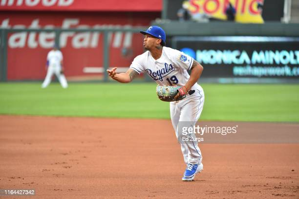 First baseman Cheslor Cuthbert of the Kansas City Royals in action against the Cleveland Indians at Kauffman Stadium on July 25, 2019 in Kansas City,...
