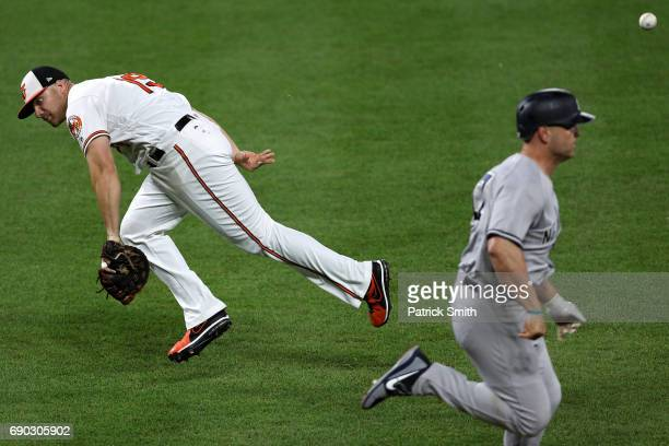 First baseman Chris Davis of the Baltimore Orioles errors as he flips the ball behind his back attempting to get Matt Holliday of the New York...