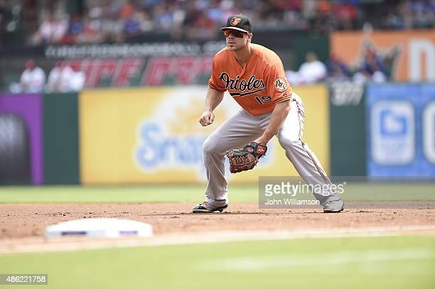 First baseman Chris Davis of the Baltimore Orioles looks to home plate as the pitch is delivered in the game against the Texas Rangers at Globe Life...
