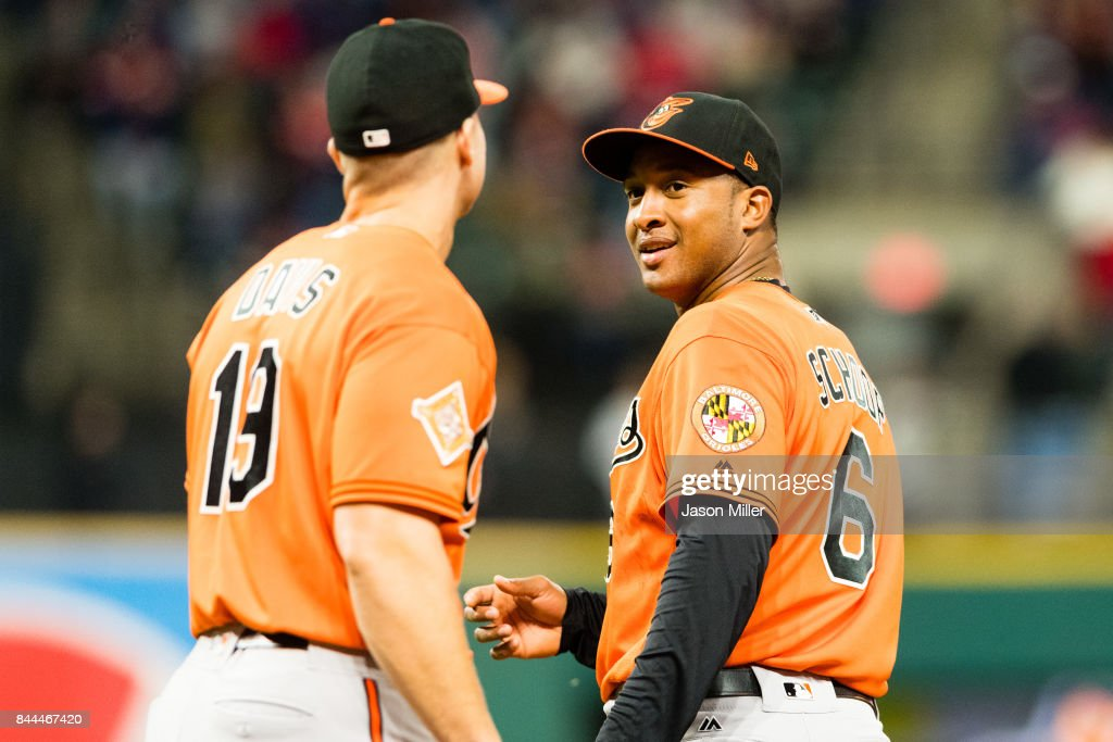 First baseman Chris Davis #19 talks to second baseman Jonathan Schoop #6 of the Baltimore Orioles after a play during the sixth inning against the Cleveland Indians at Progressive Field on September 8, 2017 in Cleveland, Ohio.