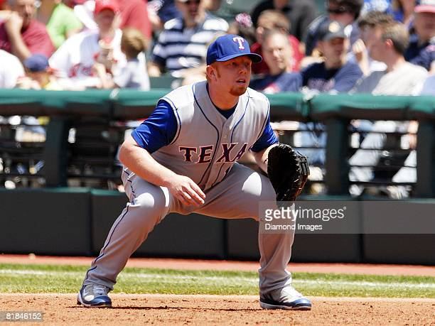 First baseman Chris Shelton of the Texas Rangers waits for a pitch to be thrown during a game with the Cleveland Indians on Sunday May 25 2008 at...