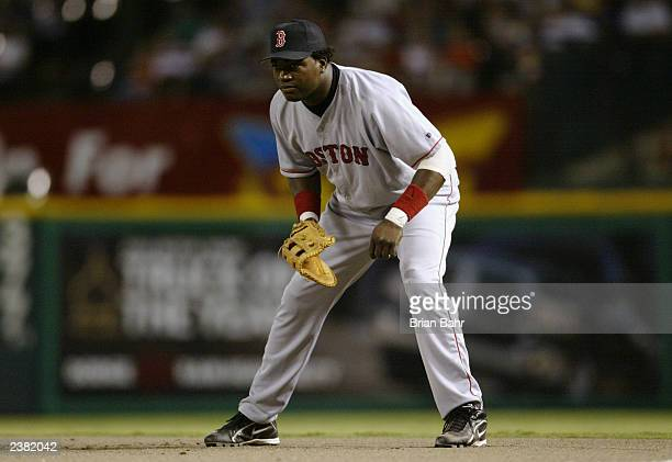 First baseman David Ortiz of the Boston Red Sox readies for the play during the American League game against the Texas Rangers at the Ballpark in...