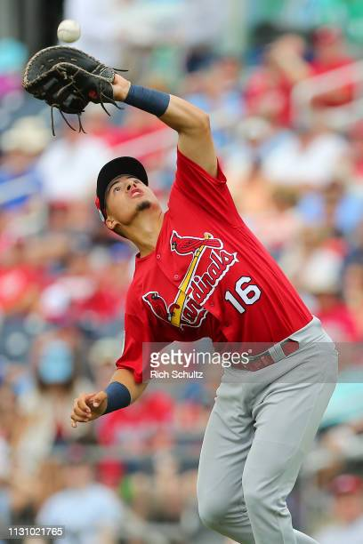 First baseman Evan Mendoza of the St Louis Cardinals makes a catch on a pop by Trea Turner of the Washington Nationals during the first inning of a...