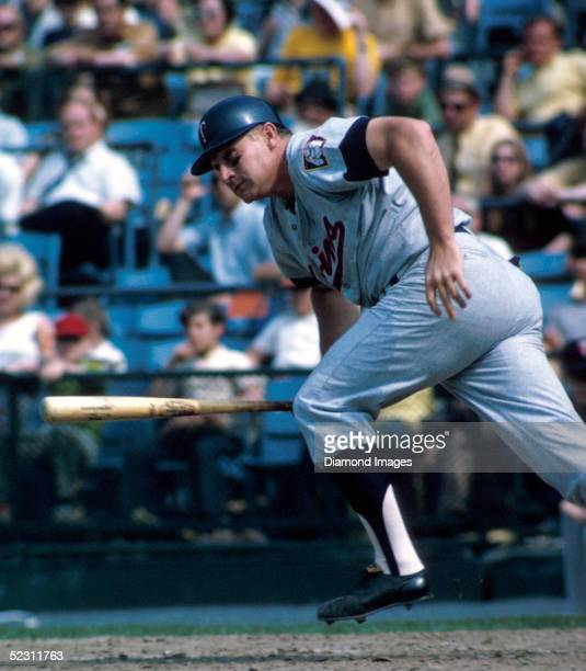 First baseman Harmon Killebrew of the Minnesota Twins heads to first after a hit during a 1971 season game at Memorial Stadium in Baltimore Maryland