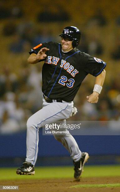 First baseman Jason Phillips of the New York Mets sprints to a base during a game against the Los Angeles Dodgers on April 29, 2004 at Dodger Stadium...