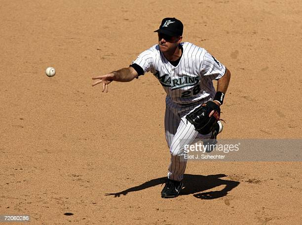 First baseman Jason Wood of the Florida Marlins fields a ball against the Philadelphia Phillies in the ninth inning on October 1, 2006 at Dolphin...
