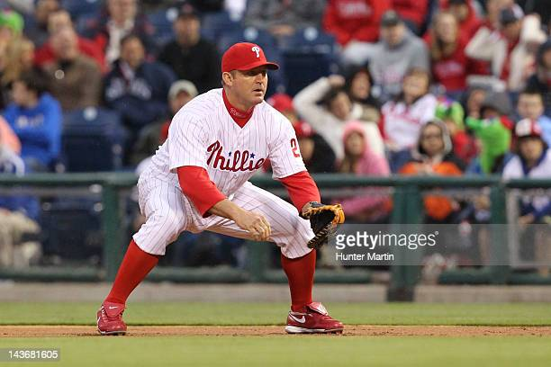 First baseman Jim Thome of the Philadelphia Phillies during a game against the Chicago Cubs at Citizens Bank Park on April 28 2012 in Philadelphia...