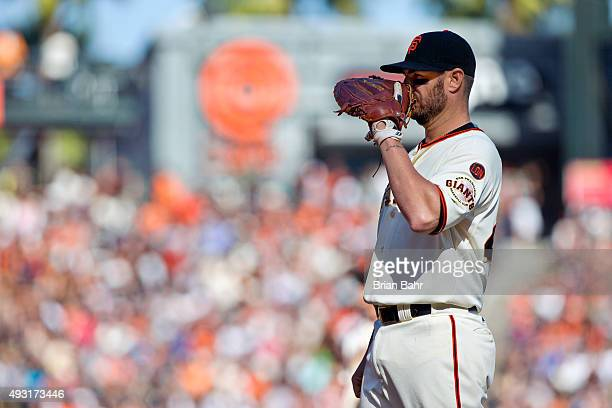 First baseman Kevin Frandsen of the San Francisco Giants waits for a pitch against the Colorado Rockies in the sixth inning at ATT Park on October 3...
