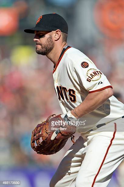 First baseman Kevin Frandsen of the San Francisco Giants waits for a pitch against the Colorado Rockies in the seventh inning at ATT Park on October...