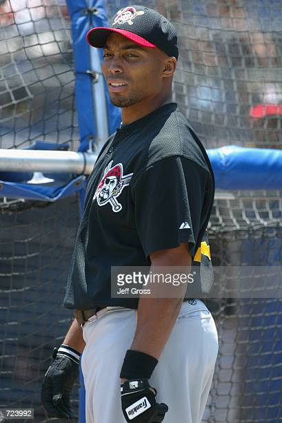 First baseman Kevin Young of the Pittsburgh Pirates stands near the batting cage before the MLB game against the San Diego Padres at Qualcomm Stadium...