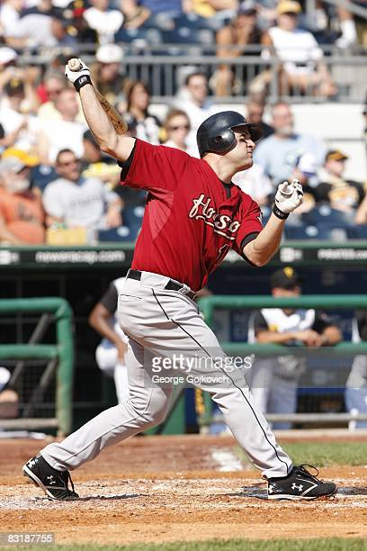 First baseman Lance Berkman of the Houston Astros bats against the Pittsburgh Pirates at PNC Park on September 21 2008 in Pittsburgh Pennsylvania The...