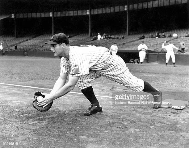 First baseman Lou Gehrig of the New York Yankees fields the ball before a game at Yankee Stadium in the Bronx New York in 1939