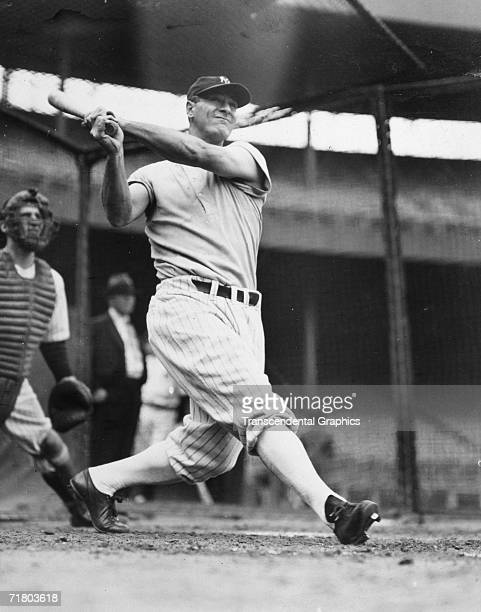 First baseman Lou Gehrig of the New York Yankees takes batting practice at the Polo Grounds before the beginning of the 1937 World Series with the...
