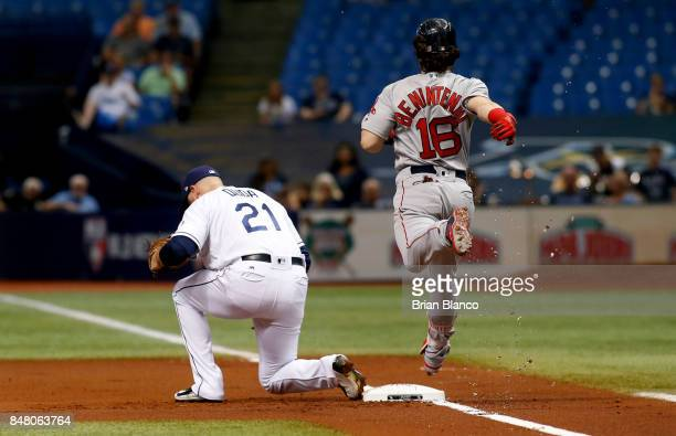 First baseman Lucas Duda of the Tampa Bay Rays hauls in the throw from shortstop Adeiny Hechavarria for the out at first base on Andrew Benintendi of...
