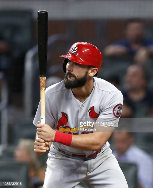 First baseman Matt Carpenter of the St Louis Cardinals waits in the batter's box for a pitch in the eighth inning during the game against the Atlanta...